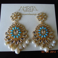 Amrita Singh Madhubala Earrings Bollywood Collection NEW Turquoise Pearl - Other