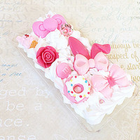 Clear iPhone 5 Case - Decoden Hard Phone Case - Pink Princess, Bows - Girly - Kawaii Sweets Deco - Pastel Fairy Kei Lolita - Whipped Cream