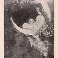 Fairy Of The Moon-1902 Antique Vintage Art Print - Beautiful Angel- Celestial Vintage Art -Fairy Dust-Gothic Victorian Picture-Magic