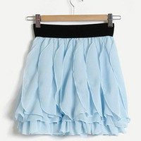 Whimsical Romantic Princess. Light Blue Wavy Petals Texture Skirt