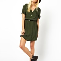 ASOS Shirt Dress With Military Detail And Belt at asos.com