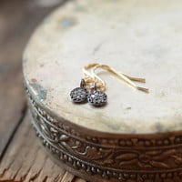 So Very Tiny Diamond Pave Earrings, Mixed Metal Jewelry