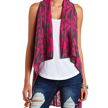 Aztec Cascade Sweater Vest by Charlotte Russe - Dark Pink Combo