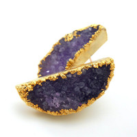 Druzy earrings - druzy stud earrings - 18k gold dipped - amethyst