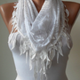 White Cotton Scarf with White Trim Edge - White Leopard Fabric - Triangular