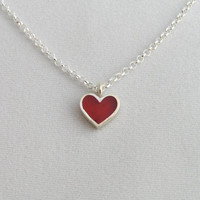 Red Heart Necklace Pendant - Sterling Silver and Crystal Enamel