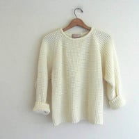 vintage 80s sweater. off white textured pullover / women's size M