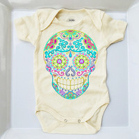 Ivory Tattoo Baby Clothes. 3, 9, 18 months Sugar Skull Bodysuit. Turquoise Pink Trendy Toddler Day of the Dead Shirt Infant Girl Boy