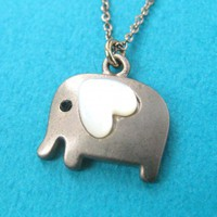 Small Elephant Animal Necklace in Silver with Heart- ALLERGY FREE