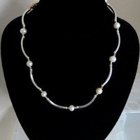 Freshwater Pearls Necklace With Silver Tubular Beads