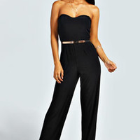 Aamira Bandeau Wide Leg Gold Belt Jumpsuit