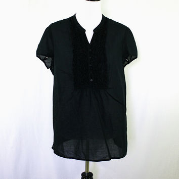 Black short sleeve ruffle v-neck blouse