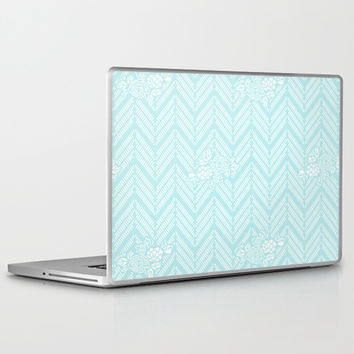 Turquoise Aqua Chevron Floral Laptop & iPad Skin by BeautifulHomes