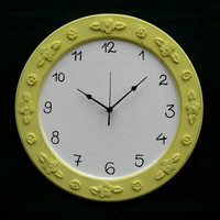 Round yellow and Cream Shabby Chic Wooden Wall Clock