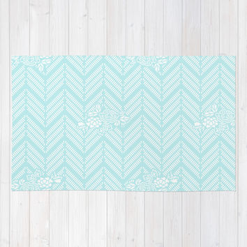 Turquoise Aqua Chevron Floral Area & Throw Rug by BeautifulHomes