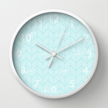 Turquoise Aqua Chevron Floral Wall Clock by BeautifulHomes