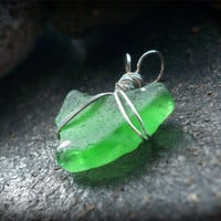 Green Sea Glass Pendant - Lake Ontario