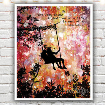 audrey hepburn quote print, typographic print, mixed media painting, friendship quotes, best friend gift, silhouette illustration