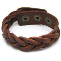 Brown Leather Bracelet Cross Weave Bracelet Adjustable 112S