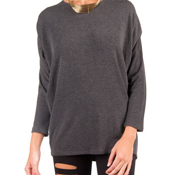 Super Soft 3/4 Sleeve Dolman Top - Charcoal - Charcoal /
