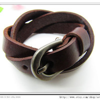 Adjustable Bracelet Leather Bracelet  Buckle Bracelet Brown  Bracelet Cool Bracelet Mens Bracelets unisex Bracelet Womens Bracelet 703S