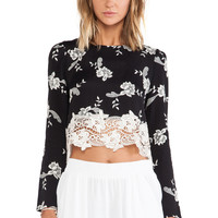 Line & Dot Blossom Crop Top in Black