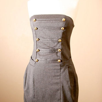 LAST ONE 40off / Strapless, Military, Denim, Corset, Dress w/ side pockets (S,L)