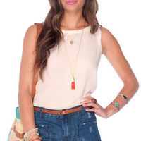 Crepe Button Down Tank Top in Ivory :: tobi