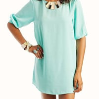 gathered-sleeve-shift-dress IVORY MINT - GoJane.com