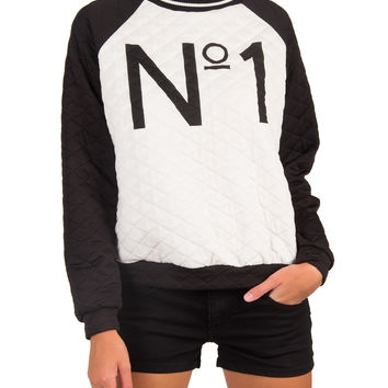 Quilted No.1 Sweater - Small - White/Black /
