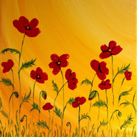 Original Flower Painting, Modern Art, Red Poppies, Summer, Red Flower