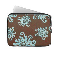 Mod Bold Turquoise Flowers Floral Laptop Sleeve from Zazzle.com