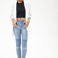 Mid-Rise - Contrast Knee Skinny Jeans