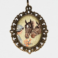 Horses And Flowers Necklace, Horse Jewelry, Oval Pendant