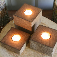 Oak Barn Beam / Post Candle Holders - Wood Pieces - Wedding, Center Piece,  Rustic Decor