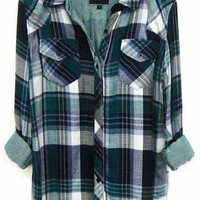 Rails Kendra Tencel Plaid Shirt in Green/Navy/White