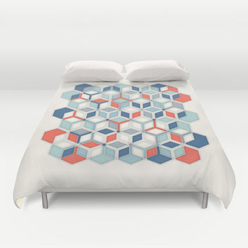 Soft Red, White & Blue Hexagon Pattern Play Duvet Cover by micklyn | Society6