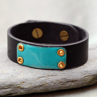 Black Leather Cuff Bracelet Copper Enamel Unisex Enameled Jewelry Accessory, Teal