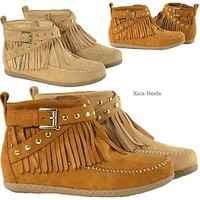 Womens Fringe Moccasins Boots Ankle Studded Flat Booties Tan or Lt Camel New