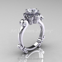 Art Masters Caravaggio 14K White Gold 1.0 Ct White Sapphire Diamond Engagement Ring R606-14KWGDWS