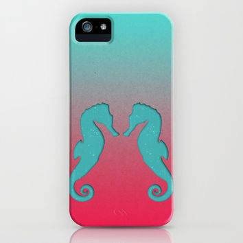 Aqua seahorses iPhone & iPod Case by eDrawings38 | Society6