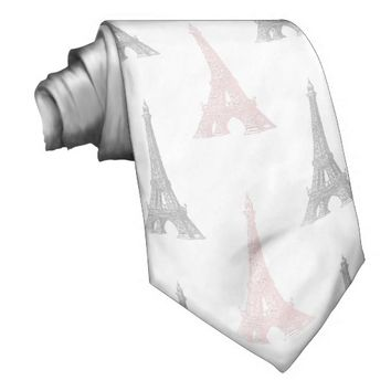 Paris Eiffel Tower White Pink Gray Tie