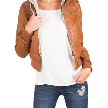 HOODED LEATHER JACKET - TAN