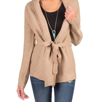 Knitted Cardigan with a Waist String - Taupe - Taupe /