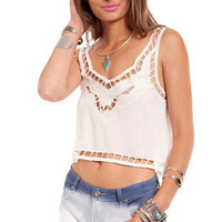 Reverse Lily Cropped Tank in White :: tobi