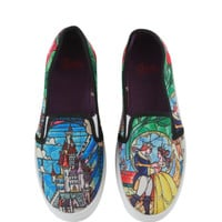 Disney Beauty And The Beast Stained Glasses Slip-On Sneakers