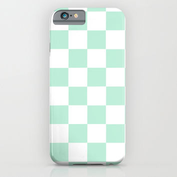 Checker Cross Square Mint Green iPhone & iPod Case by BeautifulHomes