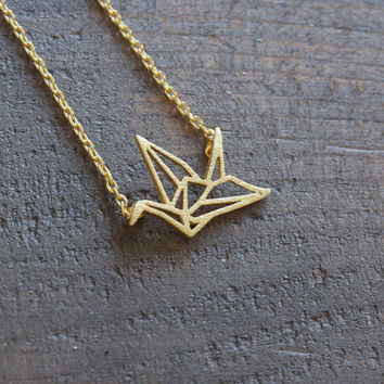 Tiny gold plated origami crane necklace unique dainty jewelry