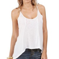 White Crisscross Adjustable Straps Top