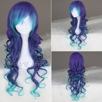 Blue Mix Purple Long Curly Synthetic cosplay costume wig anime lolita wigs